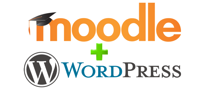 Moodle ve WordPress logoları kolaj