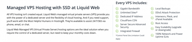 Liquid Web Review - Recursos do VPS